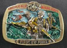 UNITED STATES MARINE CORPS FIRST TO FIGHT VINTAGE BELT BUCKLE MADE IN USA 1982