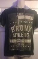 Mens black 100% cotton college USA American bronx hoodie t shirt top S/M/L/XL