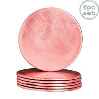Round Drinks Coasters Drinking Dining Mat Coaster in Rose Gold - 100mm - x6