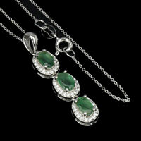 Unheated Oval Emerald 6x4mm Cz 14K White Gold Plate 925 Sterling Silver Necklace