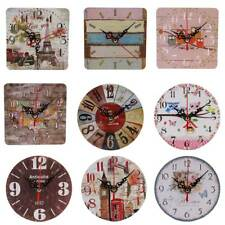 Horloge Murale Ronde Carré Silencieuse Bois Cartoon Vintage Décor Maison Salon