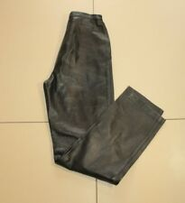 Vintage Black Leather High Rise Biker Tapered Jeans Trousers Pants Sz 8 /36 L 30