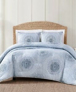 Oceanfront Resort Ocean Coastal Medallion Style Cotton Duvet Set - KING - Blue