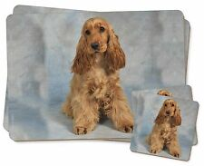 Red/Gold Cocker Spaniel Dog Twin 2x Placemats+2x Coasters Set in Gift , AD-SC6PC