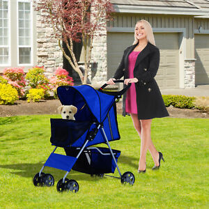 PawHut Pet Stroller Large Dog Cat 4 Wheels Folding Jogger Walk Easy Carrier Cart