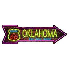 """Outdoor/Indoor Neon Route 66 Oklahoma Novelty Metal Arrow Sign 5"""" x 17"""""""