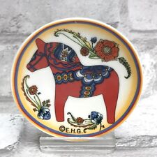 Swedish Red Dala Horse Dalahäst Kitchen Refrigerator Magnet Mini Plate Flowers