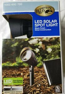 Hampton Bay LED Solar Spot Light Black Finish Metal Construction