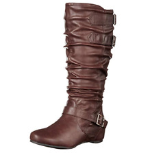Brinley Co Women's Cammie-wc Slouch Boot Brown Wide Calf 7.5 M US