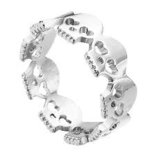 Heart Multi Skull Designed Wedding Women's Fashion Band In 925 Sterling Silver