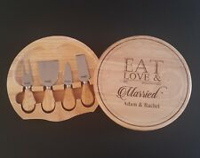 5pcs set Personalised Cheese board wooden WEDDING ENGAGEMENT house warming Gift