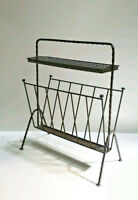 Mid-century black  60's Magazine newspaper rack holder attr. mategot perforated