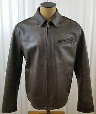 Vtg Eddie Bauer Mens Brown Leather Jacket Bomber Car Motorcycle Coat Zip Size L