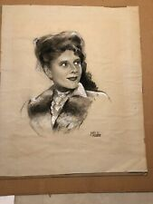 Marie Stobbe ~ Vintage Signed Charcoal Mixed Media Sketch Of Woman- Actress?