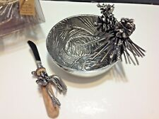 NEW MUD PIE METAL PINE BOUGH DIP CUP SET Includes Spreader Wedding Gift, Hostess