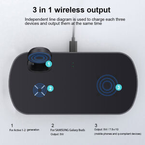 AU Qi Fast Wireless Charger Pad Mat Stand 3in1 For Galaxy Watch Samsung S20 S10