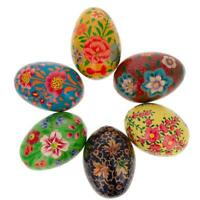 Set of 6 Flowers Ukrainian Wooden Easter Eggs Pysanky 3 Inches