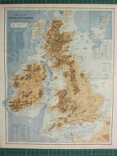 c1890 ANTIQUE MAP ~ BRITISH ISLANDS PHYSICAL HIGHLAND LOWLANDS MOUTAINS IRELAND
