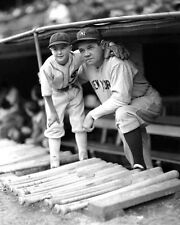 New York Yankees BABE RUTH w/ Bat Boy Glossy 8x10 Photo Baseball Print Poster