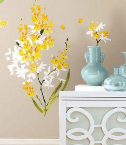 YELLOW ORCHID FLOWER ARRANGEMENT wall stickers 29 decals petals room decor