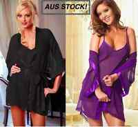 3Pcs Set Sexy Lingerie Nightwear Sleepwear Lace Dress + Bath Robe + G-string