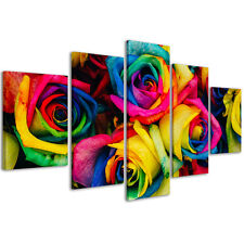 Quadri Moderni 200 x 90 cm Stampe su Tela XXL Quadro Moderno Rose Colorate #078