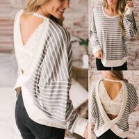 Women Fashion New Stripe Backless Top Fashion T Shirt Ladies Long Sleeve Blouse