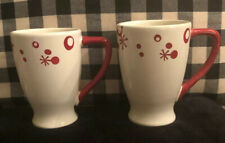 "Set of 2 Pier 1 "" Flurry "" 16 oz Christmas Mugs Hand Painted In Mint Condition"