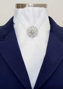 ERA Kate  Plain White Stock Tie with Brooch