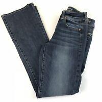 American Eagle Womens Jeans 2 LONG Super Stretch Kick Bootcut Dark Wash #011