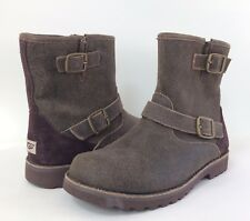 New UGG Youth Big Kids Harwell Bomber Short Boots Brown Strap Buckles Zip Sz 4Y