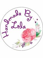 Personalised Stickers Handmade by Labels Various sizes ANY NAME Wreath H28
