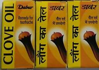 4 X DABUR CLOVE OIL 2 ML TOOTHACHE /FREE SHIPPING /RELIEF FROM PAIN