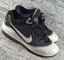 98cf37a4b94fc Nike Air Max Lebron VII 7 Black White Gold 412230-011 Basketball Shoes Size  12