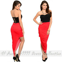 Sexy Summer Casual Bodycon Dress Pleated Strapless Asymmetrical High Low Skirt