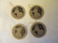 """Holiday All Occasion Gift Wrap Package Tags 3"""" Round Brown Paper Earth Globe 4Pc"""
