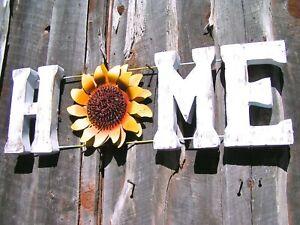 Junk Iron Art metal HOME sunflower sign