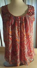 New York & Company Stretch Red With Red Orange Purple Paisley Print Size L