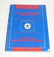 1992 & 1993 Dodge Ram 8.0L EFI Diagnostic Procedures Manual GOOD USED CON