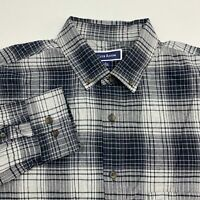 Club Room Button Up Shirt Men's Large Long Sleeve Black Gray Plaid Cotton Blend