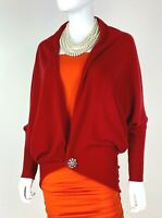 Neiman Marcus 12 US 48 IT L Red 100% Cashmere Cardigan Sweater Runway Auth