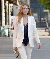 Helmut Lang Women's White Shrunken Stretch Cotton Blend Jacket Retail $655