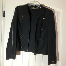 Louis Feraud Vintage Womens 12 US Black Wool Double Breasted Jacket Coat VGUC