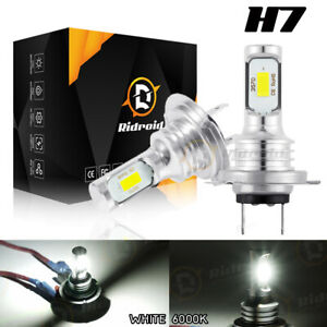 2 LED Headlight Bulbs Conversion Kit H7 High Low Beam Headlamp 6000K Super White