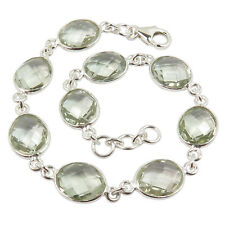 925 Sterling Silver Jewelry Natural Checker Briolette GREEN AMETHYST Bracelet