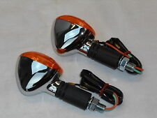 TURN SIGNAL LIGHT SET - CHROME- MINI - HONDA SUZUKI KAWASAKI YAMAHA CAFE BRAT
