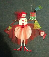 Red Hat Society Lady snowman Christmas Ornament metal with Feathers
