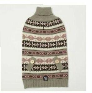 Petrageous Fair Isle Dog Pet Sweater Coat Jacket Knit Cranberry Taupe Size L XS