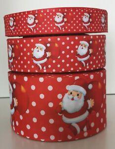Santa Ribbon Red SpottyFather Xmas Christmas 1M Grosgrain Craft Hair Bows Cakes