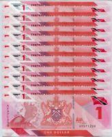 Trinidad & Tobago 1 Dollar 2020/2021 Polymer P NEW UNC LOT 10 Pcs 1/10 Bundle